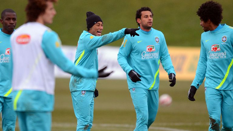 Neymar: Brazil squad in training for the home Confederations Cup