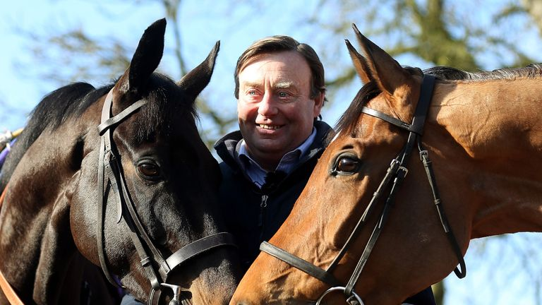 Trainer Nicky Henderson, pictured with Grandouet and Binocular