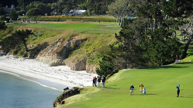 The sixth hole at Pebble Beach - one of many to run alongside the Ocean