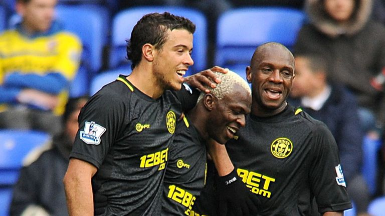 Arouna Kone celebrates his second goal.
