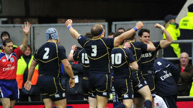Sean Maitland: Scotland wing celebrates after scoring against England
