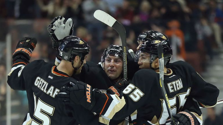 The Anaheim Ducks celebrate their 2-1 come-from-behind win over the San Jose Sharks