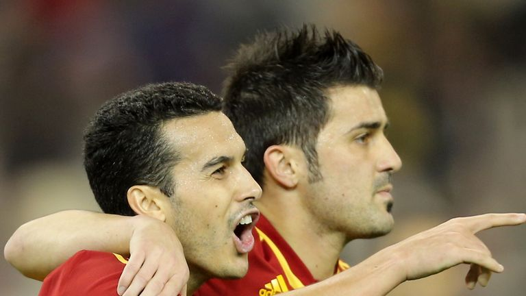 Pedro Rodriguez and David Villa: Celebrating for Spain