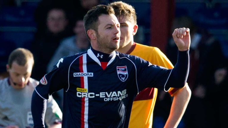 Ivan Sproule: Celebrates his first-half goal at Victoria Park