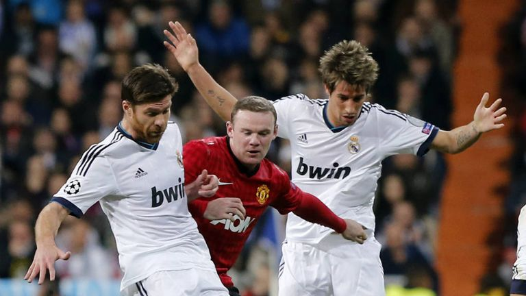 Xabi Alonso: In action in the first leg against Manchester United