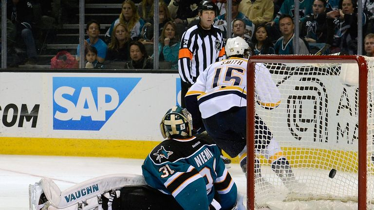 Craig Smith celebrates his winning goal for the Nashville Predators