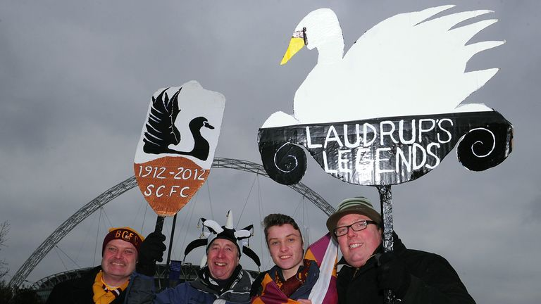 Swansea and Bradford fans: Played their part at Wembley