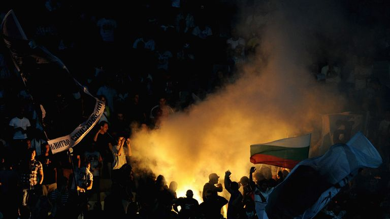Bulgaria fans release flares at their World Cup qualifier with England in 2011