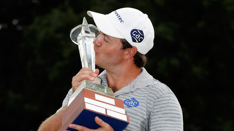 Sealed with a kiss: Sterne celebrates winning the Joburg Open