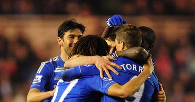 Chelsea celebrate their opening goal against Middlesbrough