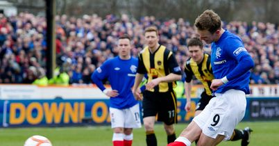 Dean Shiels scores Rangers' first goal during a 3-1 victory at Berwick