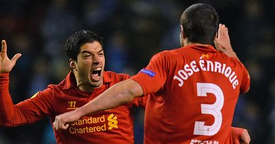 Luis Suarez: Celebrates stunning second goal with Jose Enrique