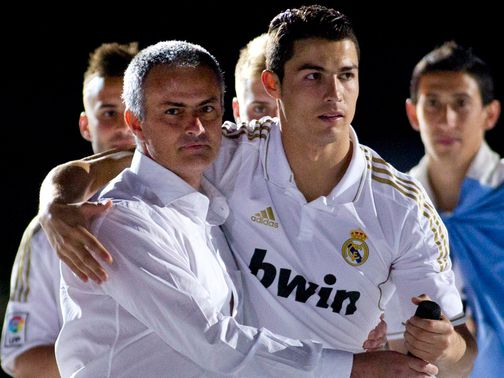 Ronaldo (right) doesn't know what Mourinho's (left) future holds.