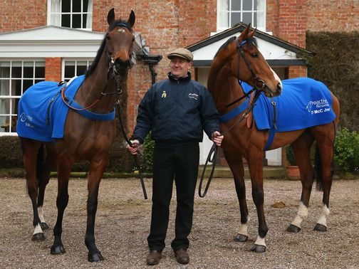 Donald McCain with Overturn and Peddlers Cross before Cheltenham