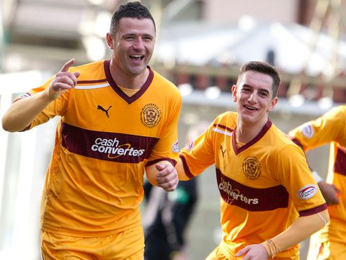 Michael Higdon celebrates one of his two goals
