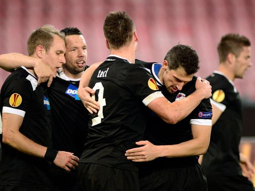Viktoria Plzen celebrate during their 3-0 win at Napoli