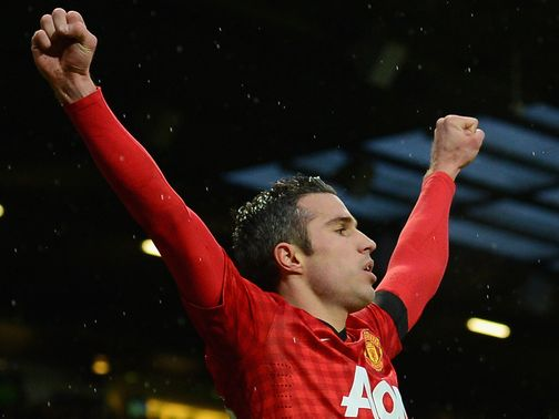 Robin van Persie celebrates his goal at Old Trafford