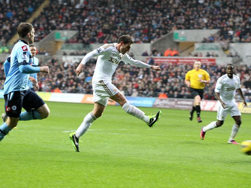 Angel Rangel scores Swansea's second goal of the game