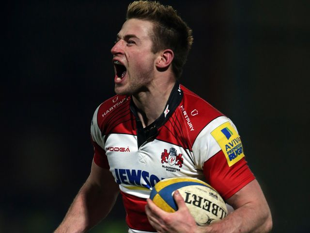 Henry Trinder celebrates his Gloucester try