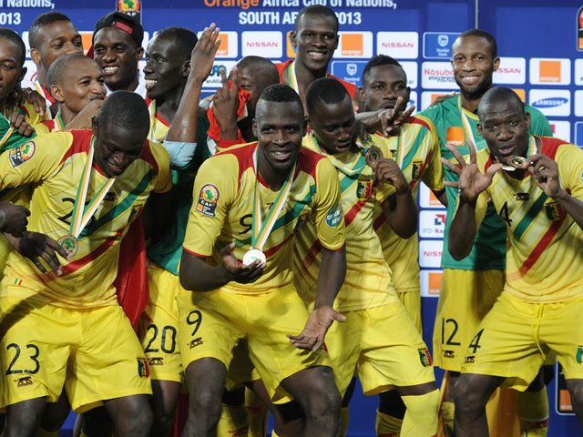 Mali celebrate finishing third at the Africa Cup of Nations