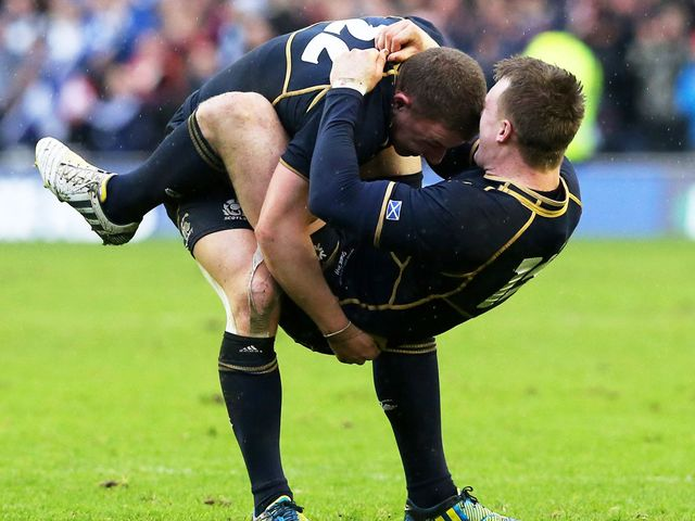 Duncan Weir and Stuart Hogg celebrate