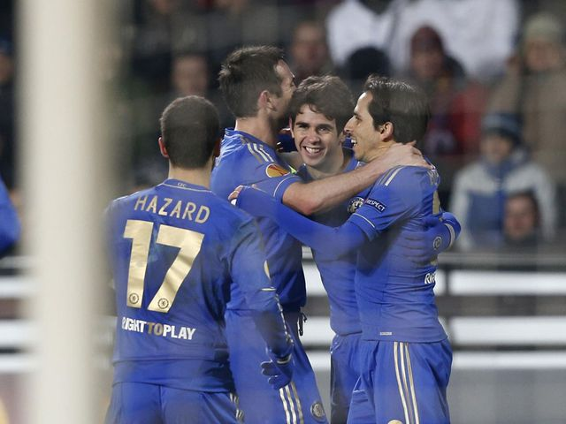 Oscar is mobbed after scoring