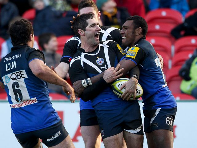Stephen Donald celebrates at Gloucester