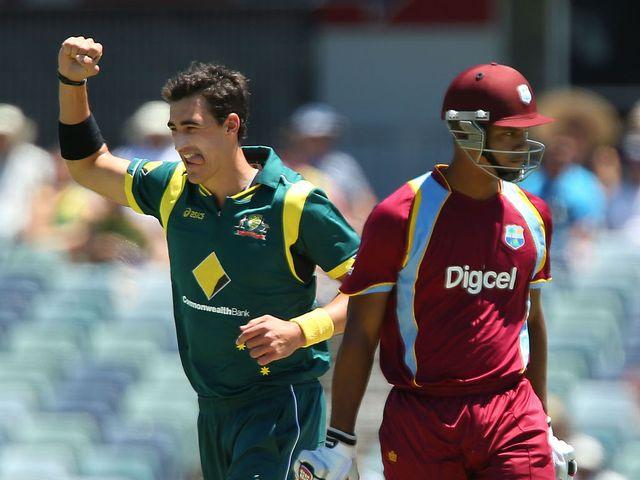 Mitchell Starc enjoys Australia's victory.