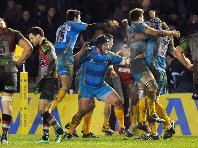 Wasps celebrate as the final whistle is blown