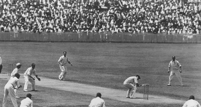 Harold Larwood: W M Woodfull ducks to avoid a rising ball from the England bowler during the fourth Test match at Brisbane on the infamous 'Bodyline' tour