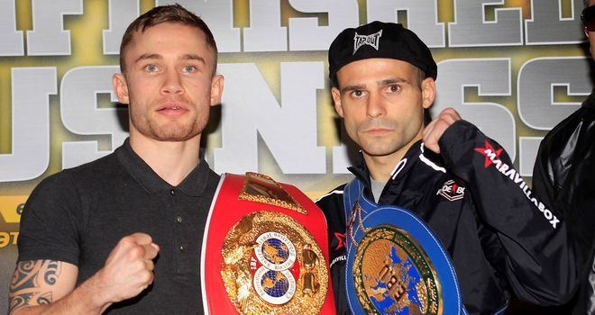 Carl Frampton (L) hit back at the comments of Martinez
