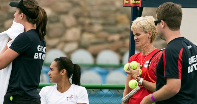 The Great Britain Fed Cup squad ready for battle in Israel