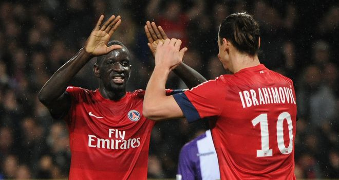 Mamadou Sakho is congratulated by Ibrahimovic