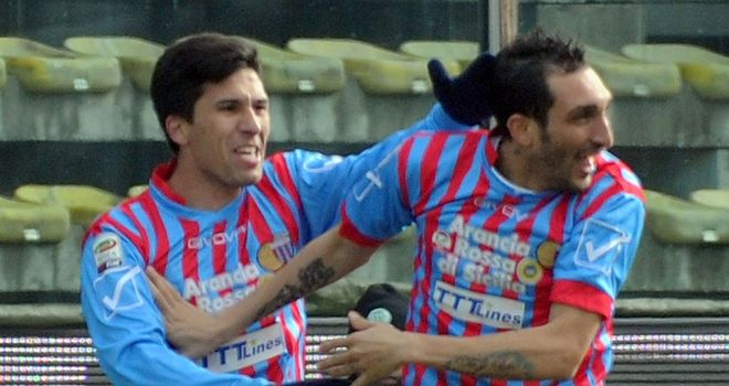 Francesco Lodi celebrates his goal for Catania