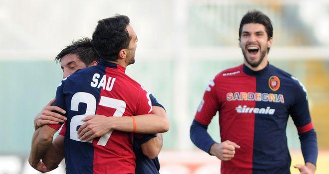 Marco Sau celebrates one of two goals