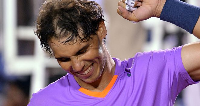 Rafael Nadal celebrates his victory over Jeremy Chardy