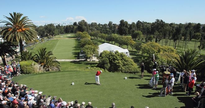 The tee sits 75 feet above the fairway at Riviera's par five opening hole.