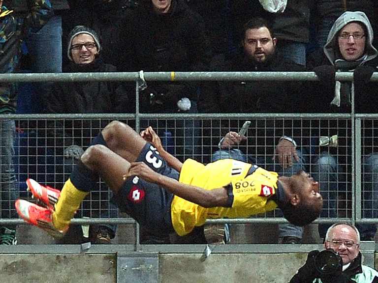 Giovanni Sio celebrates his goal for Sochaux