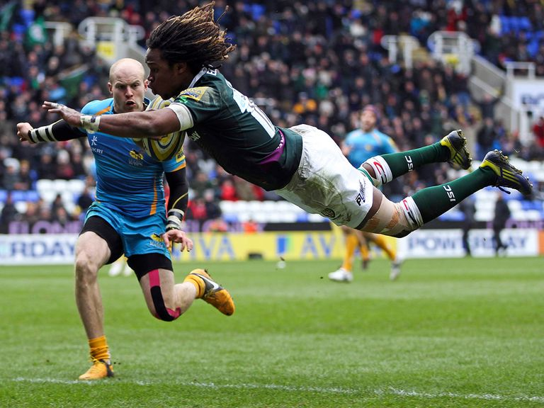 Marland Yarde dives in for a London Irish try