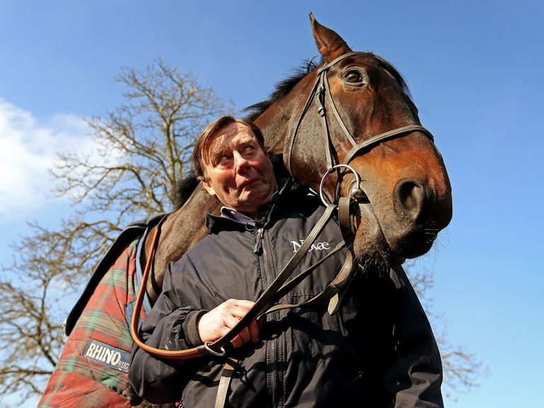 Nicky Henderson with his stable star Sprinter Sacre on Monday