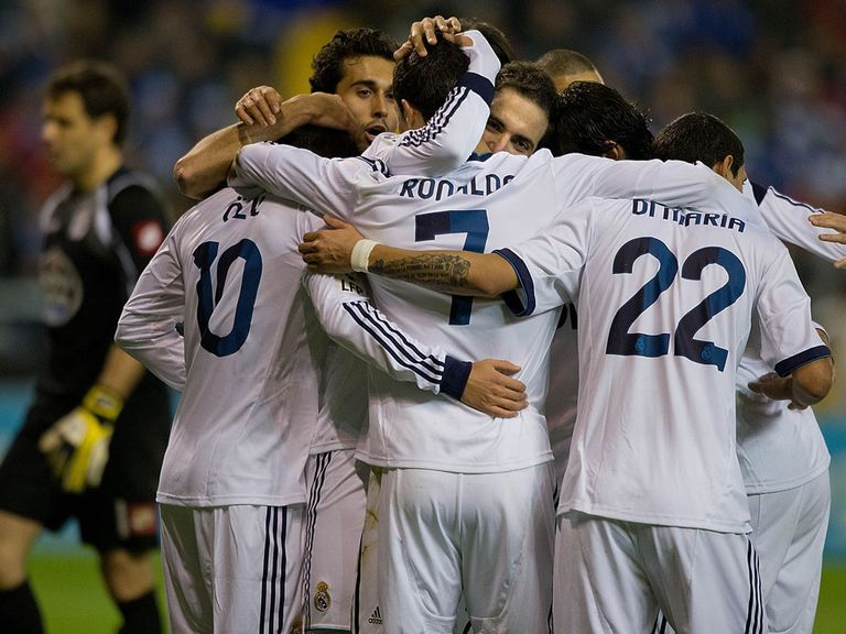 Real Madrid celebrate Higuain's late winner