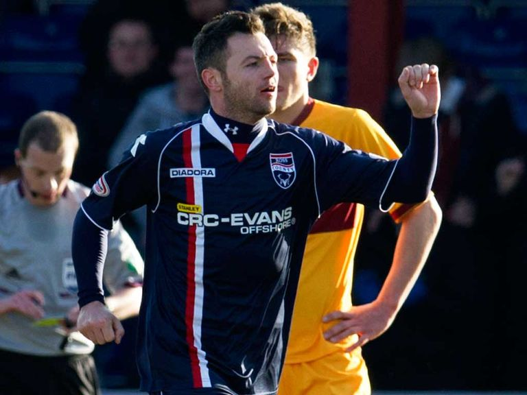 Ivan Sproule celebrates his goal in County's 3-0 defeat of Motherwell