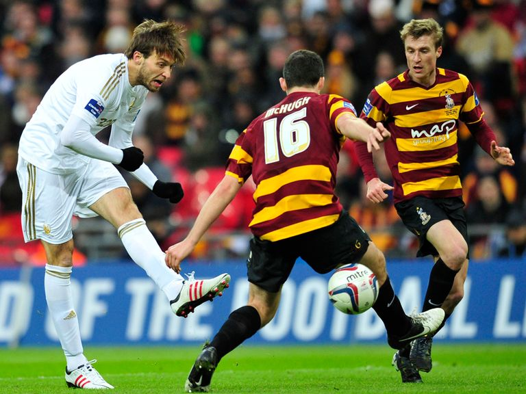 Michu scores for Swansea in the 5-0 victory over Bradford.