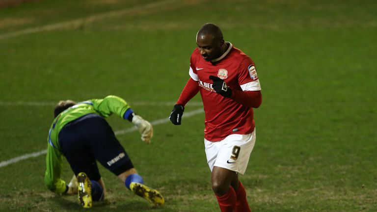 Jason Scotland: Celebrates opener at Oakwell