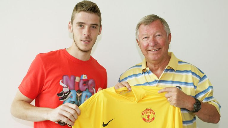 David de Gea: With Ferguson after signing for Manchester United in June 2011