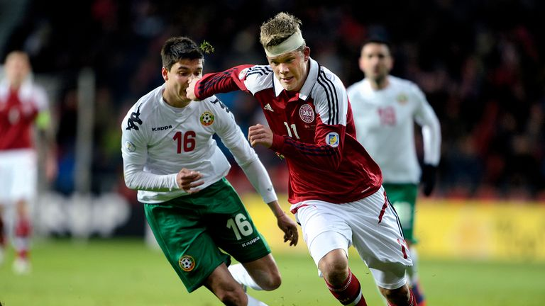 Andreas Cornelius while on duty for Denmark against Bulgaria
