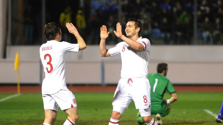 Frank Lampard: England midfielder celebrates against San Marino