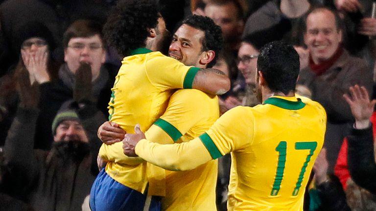 Fred: Celebrates goal for Brazil