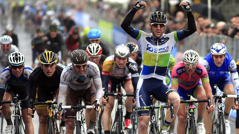 Mark Cavendish, left, had to settle for fifth as Matt Goss claimed victory
