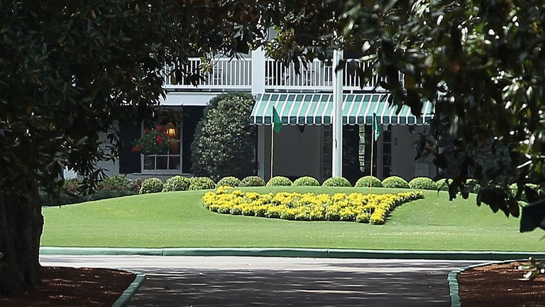 Welcome to the Masters: a glimpse of the under-stated clubhouse from Magnolia Lane
